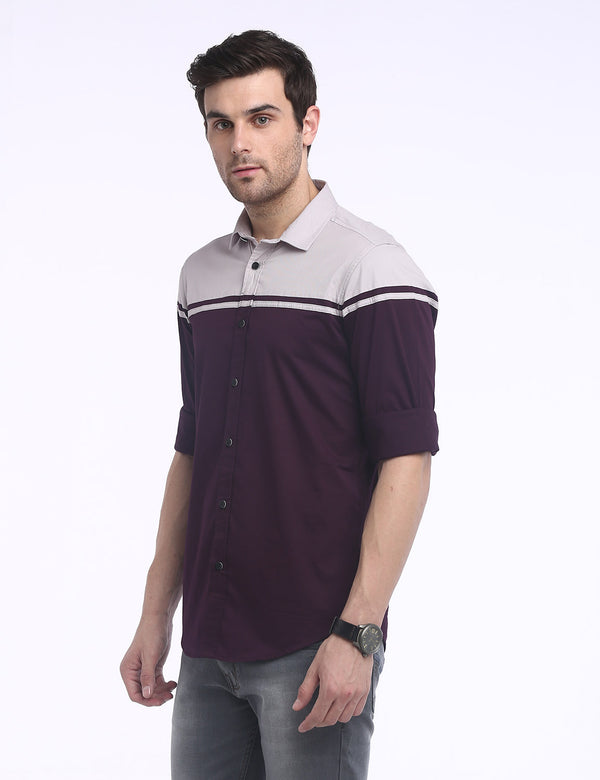 ADNOX Designer Plain Casual Fine Twill Cotton Casual Shirt for Men (Maroon)
