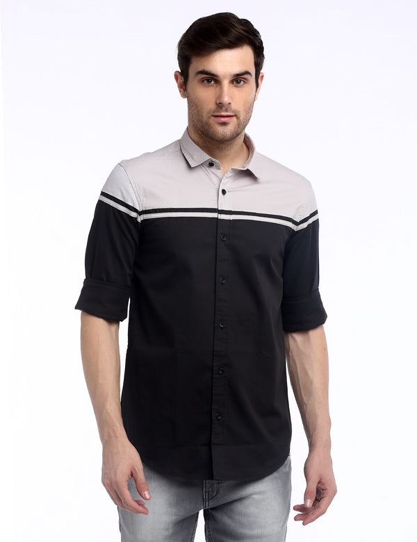 ADNOX Designer Plain Casual Fine Twill Cotton Casual Shirt for Men (Black)