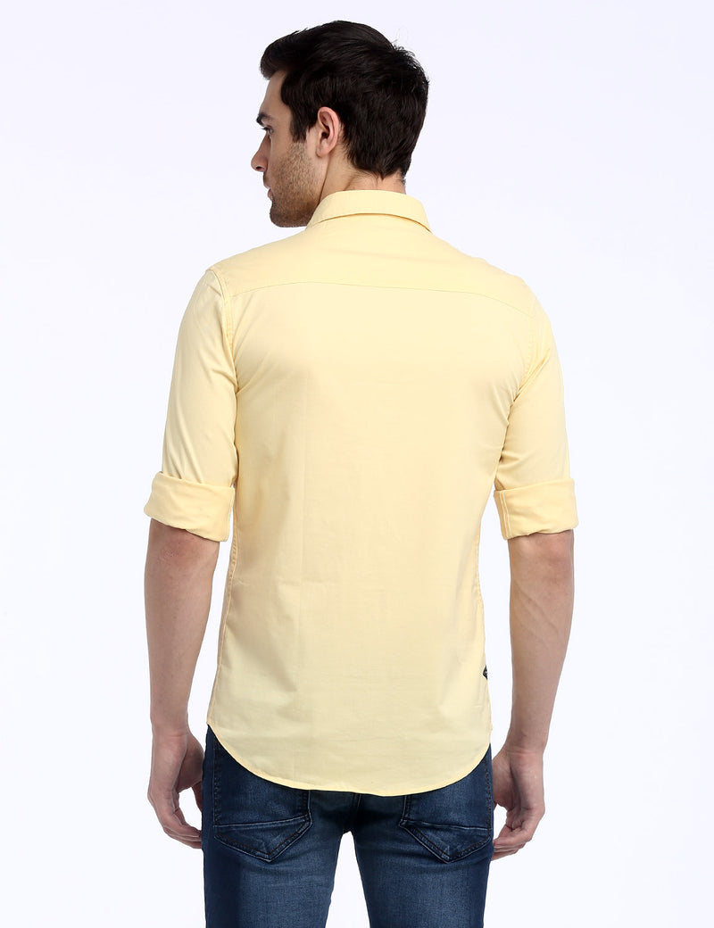 ADNOX Designer Plain Casual Fine Twill Cotton Casual Shirt for Men (Yellow)