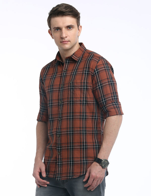 ADNOX Checkered Twill Cotton Full Sleeve Slim Fit Shirt for Men (Brown)