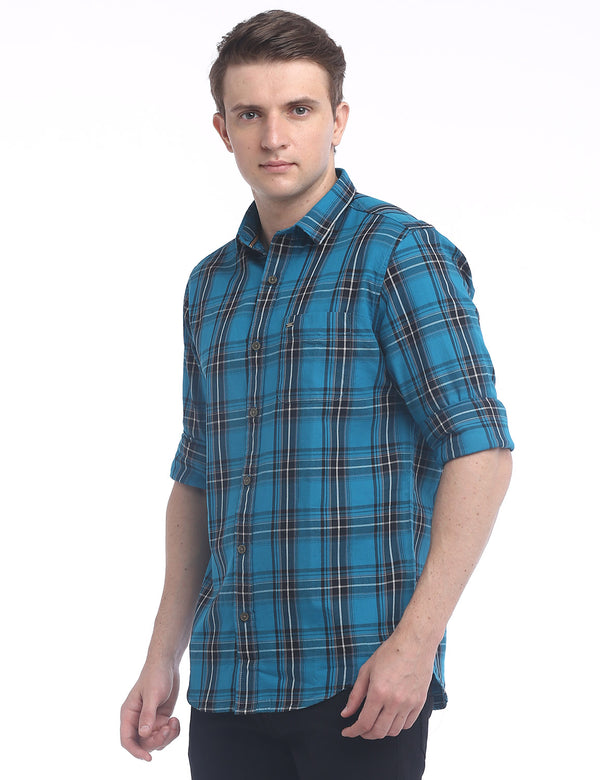 ADNOX Checkered Twill Cotton Full Sleeve Slim Fit Shirt for Men (Petrol Blue)
