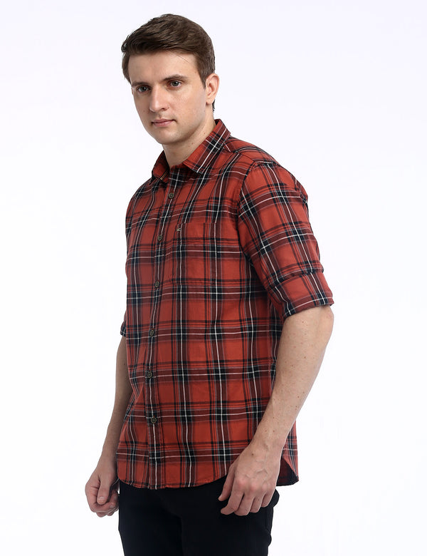 ADNOX Checkered Twill Cotton Full Sleeve Slim Fit Shirt for Men (Brick Red)