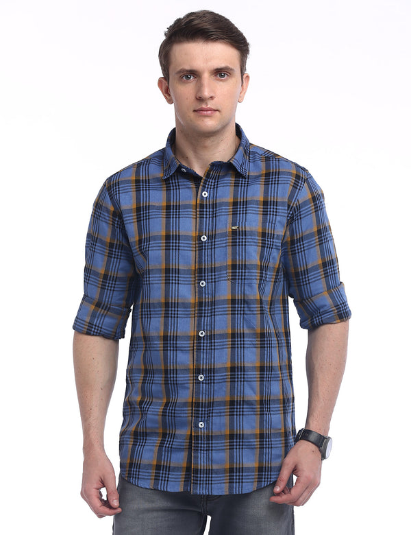 ADNOX Checkered Milange Twill Cotton Casual Slim Fit Shirt for Men (Blue)