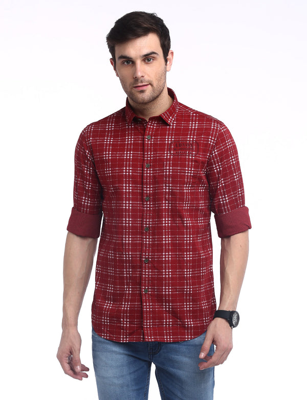 ADNOX Men's Checkered Reversible Print Casual Cotton Shirt for Men (Red)