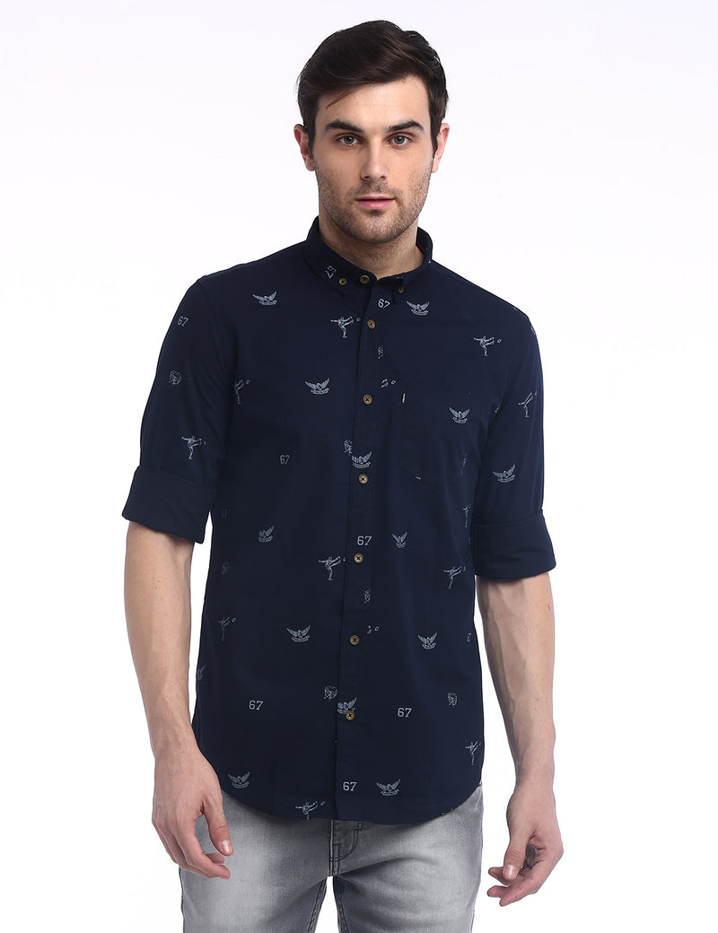 ADNOX Men's Printed Lafer Cotton Full Sleeve Slim Fit Casual Shirt (Navy Blue)