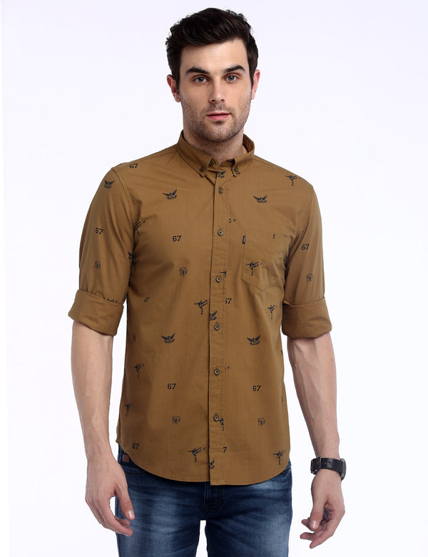 ADNOX Men's Printed Lafer Cotton Full Sleeve Slim Fit Casual Shirt (Khaki)