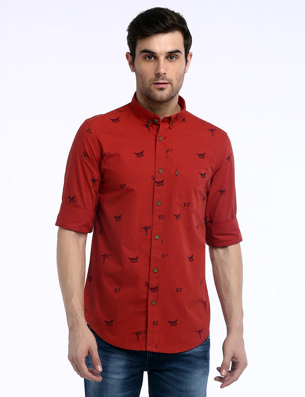 ADNOX Men's Printed Lafer Cotton Full Sleeve Slim Fit Casual Shirt (Red)