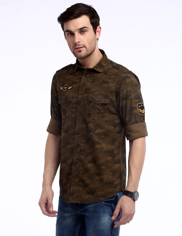 ADNOX Men's Camouflage Cotton Full Sleeve Slim Casual Shirt (Army Green)