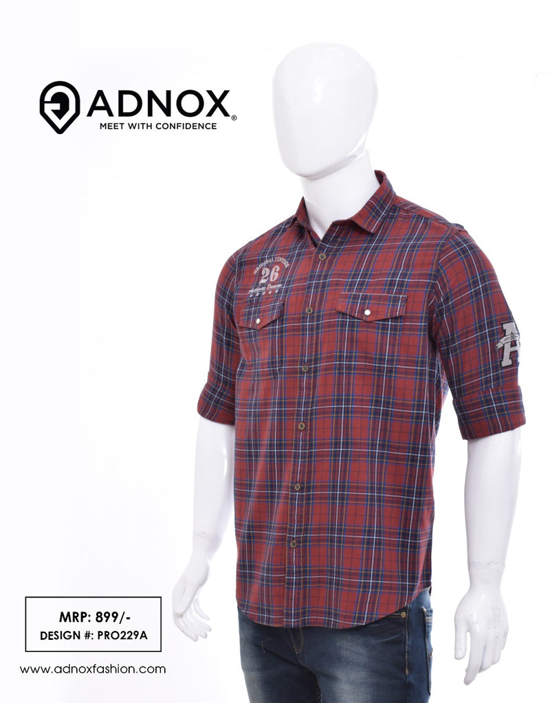 Brick Red Checkered Shirt for Men