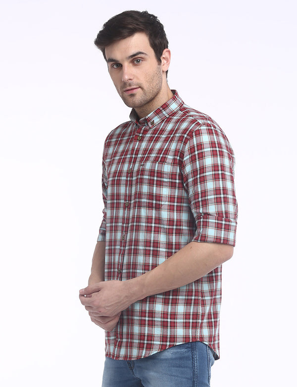 ADNOX Checkered Twill Cotton Full Sleeve Slim Fit Shirt for Men (Red)