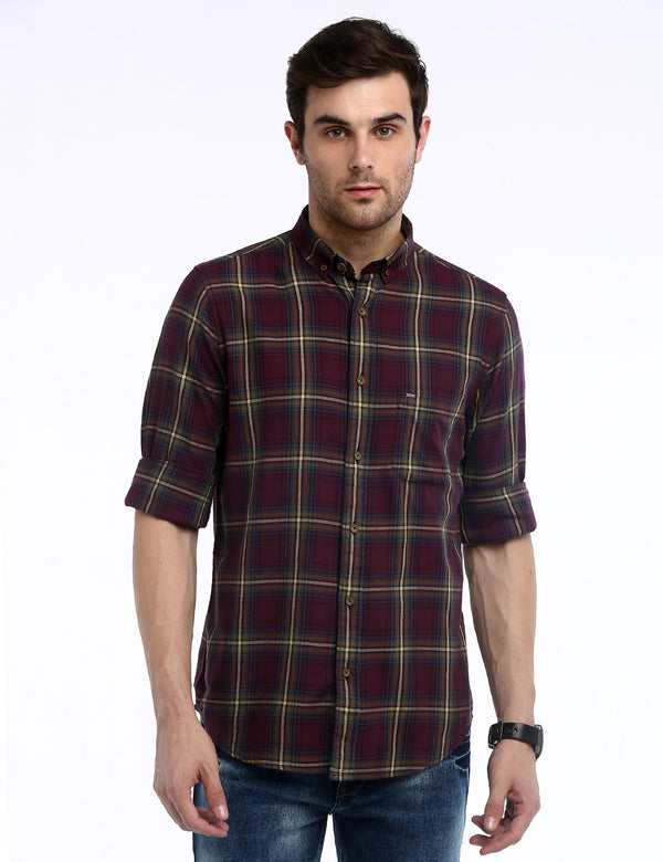 ADNOX Men's Checkered Twill Cotton Full Sleeve Casual Slim Shirt (Maroon)