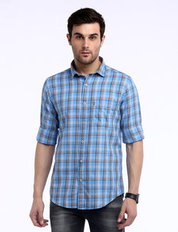 ADNOX Checkered Twill Cotton Full Sleeve Slim Fit Shirt for Men (Sky Blue)