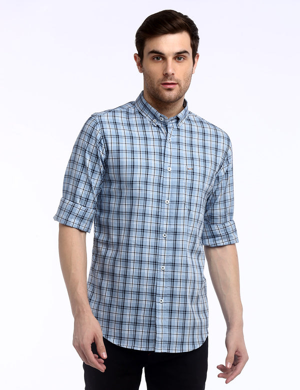 ADNOX Checkered Twill Cotton Full Sleeve Slim Fit Shirt for Men (Bluish Grey)