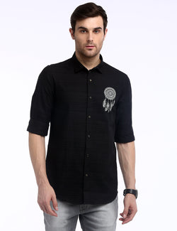 ADNOX Dreamcatcher Men's Designer Poplin Cotton Casual Slim Shirt (Black)