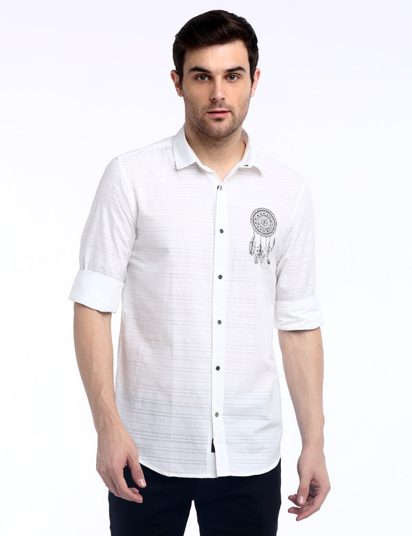 ADNOX Dreamcatcher Men's Designer Poplin Cotton Casual Slim Shirt (White)