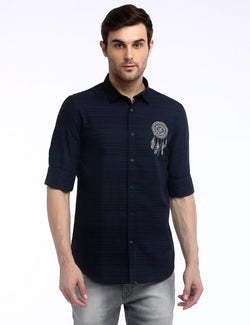 ADNOX Dreamcatcher Men's Designer Poplin Cotton Casual Slim Shirt (Navy Blue)