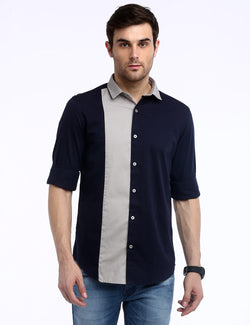 ADNOX Men's Designer Fine Twill Cotton Casual Slim Fit Shirt (Navy Blue)