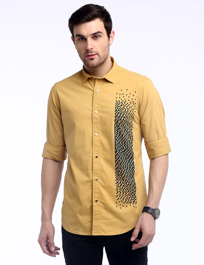ADNOX Men's Designer Twill Lycra Cotton Full Sleeve Shirt (Golden Yellow)