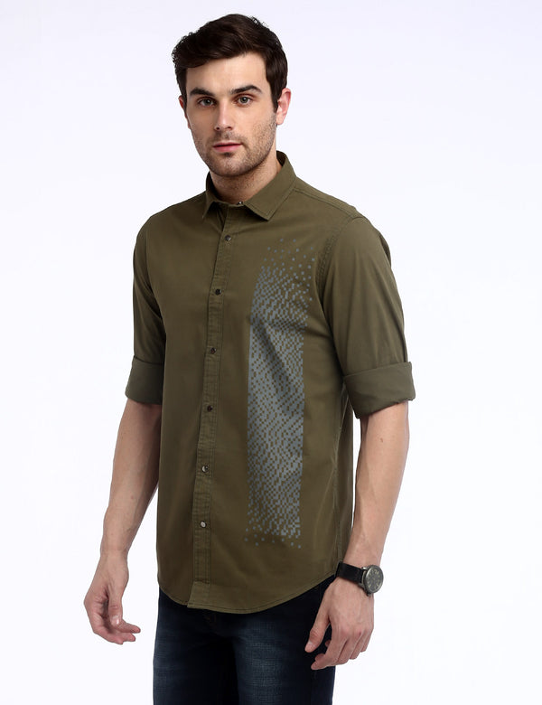 ADNOX Men's Designer Twill Lycra Cotton Full Sleeve Casual Shirt (Army Green)
