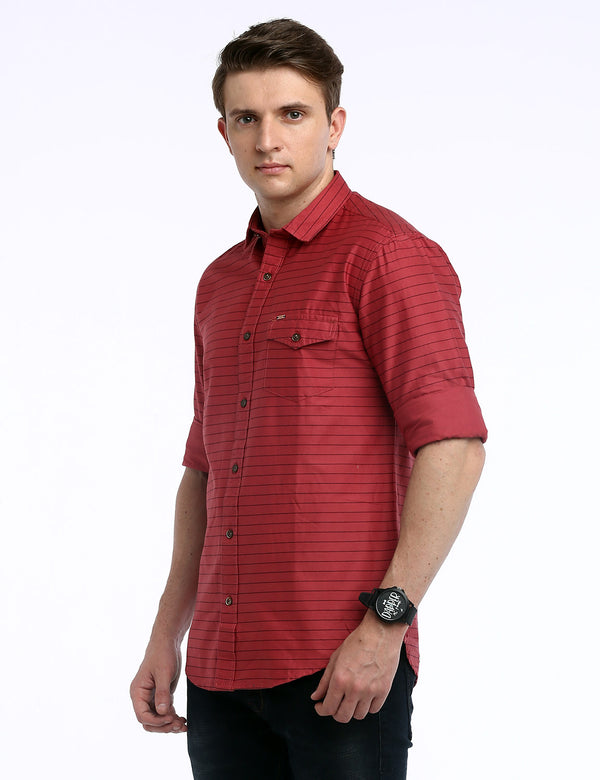ADNOX Men's Striped Lycra Cotton Full Sleeve Slim Fit Shirt (Indian Red)