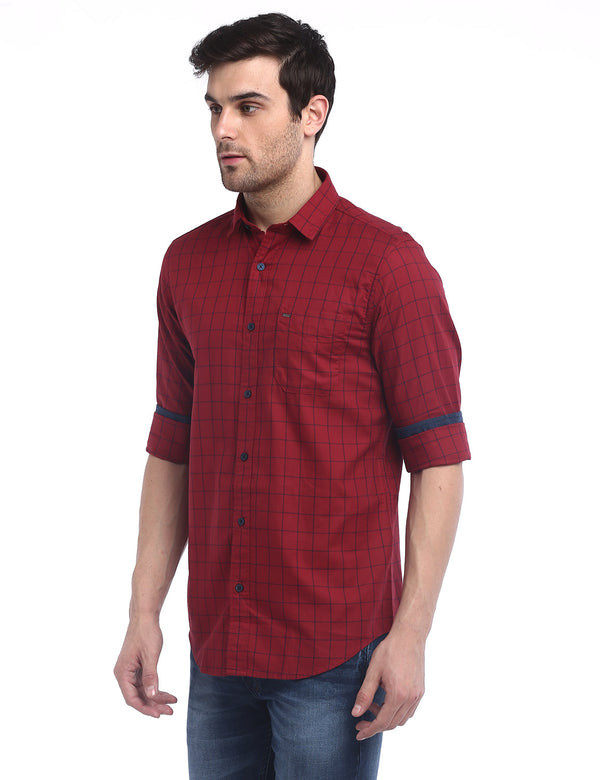 ADNOX Men's Box Checkered Maty Cotton Full Sleeve Slim Fit Shirt (Red)