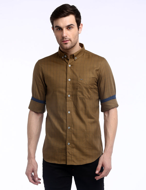 ADNOX Box Checkered Twill Cotton Full Sleeve Shirt for Men (Dark Khaki)