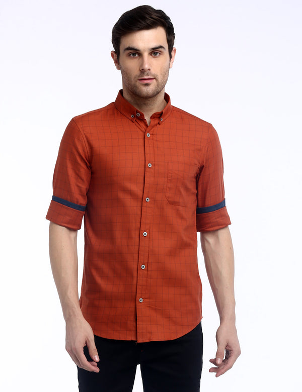 ADNOX Box Checkered Twill Cotton Full Sleeve Shirt for Men (Brick Red)