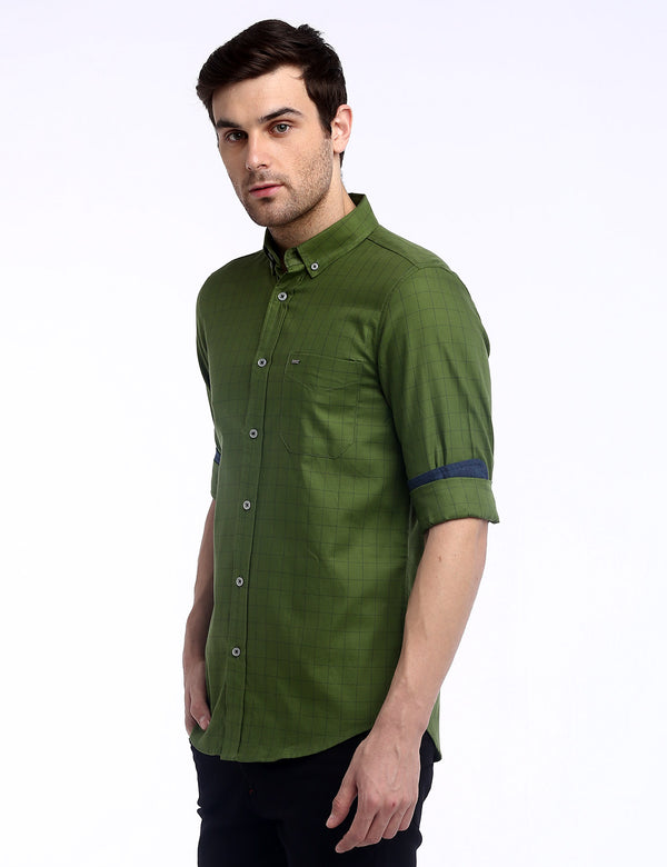 ADNOX Box Checkered Twill Cotton Full Sleeve Shirt for Men (Olive Green)