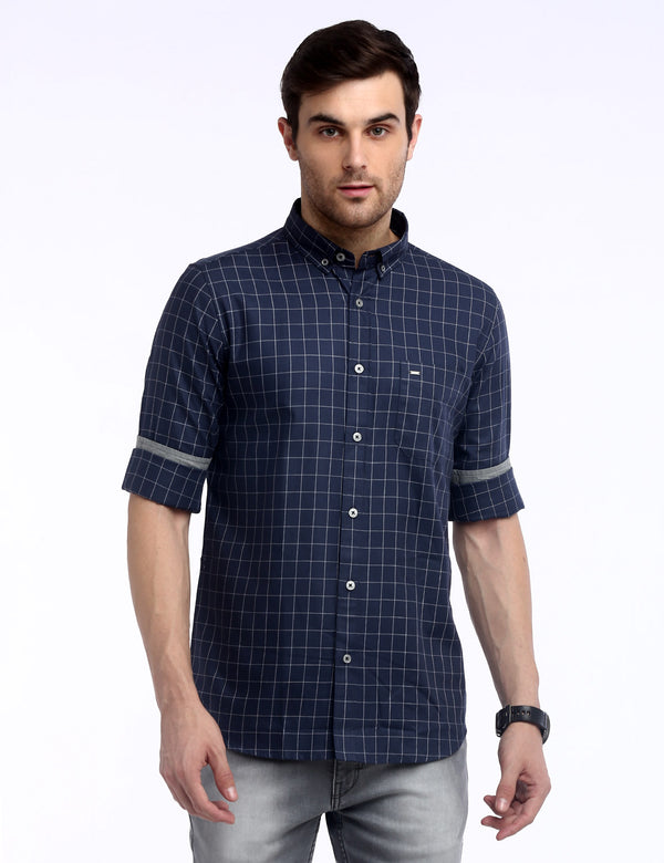 ADNOX Box Checkered Twill Cotton Full Sleeve Shirt for Men (Navy Blue)