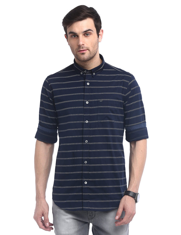 ADNOX Men's Striped Poplin Cotton Full Sleeve  Casual Slim Shirt (Navy Blue)
