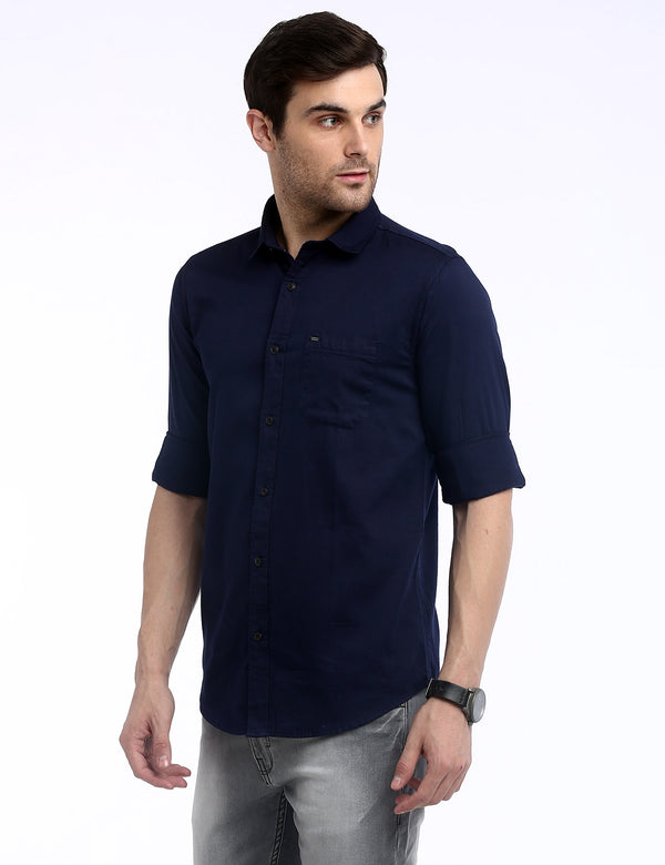 ADNOX Men's Solid Dobby Cotton Full Sleeve Slim Casual Plain Shirt (Navy Blue)