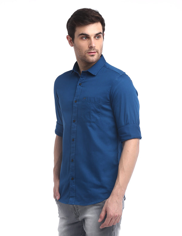 ADNOX Men's Solid Dobby Cotton Full Sleeve Slim Casual Plain Shirt (Blue)