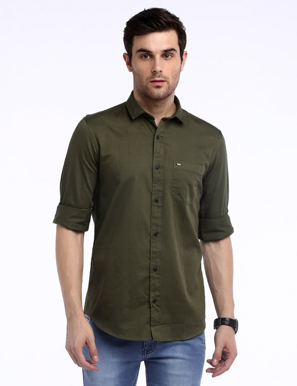 ADNOX Men's Solid Dobby Cotton Full Sleeve Slim Fit Plain Shirt (Olive Green)