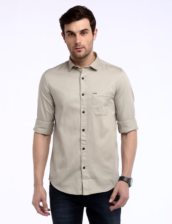 ADNOX Men's Solid Dobby Cotton Full Sleeve Slim Casual Plain Shirt (Beige)