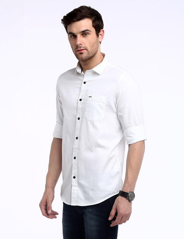 ADNOX Men's Solid Dobby Cotton Full Sleeve Slim Casual Plain Shirt (White)