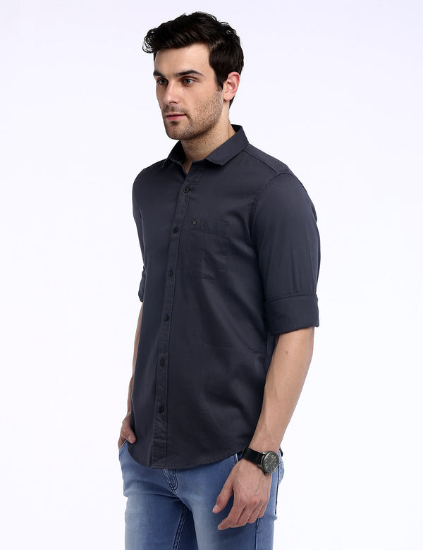ADNOX Men's Solid Dobby Cotton Full Sleeve Slim Casual Plain Shirt (Dark Grey)