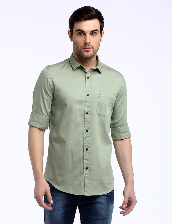 ADNOX Men's Solid Dobby Cotton Full Sleeve Slim Plain Shirt (Light Olive Green)