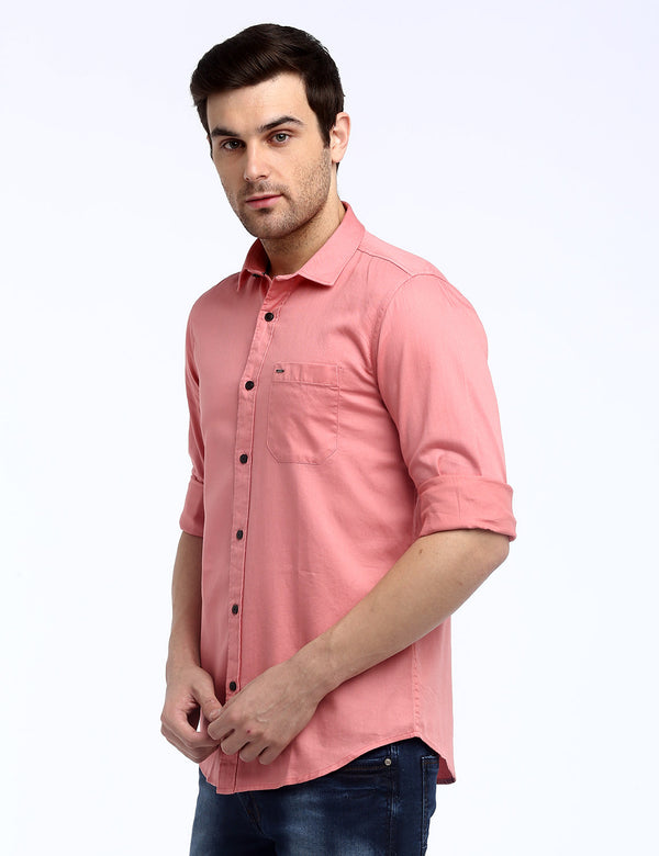 ADNOX Men's Solid Dobby Cotton Full Sleeve Slim Casual Plain Shirt (Peach)