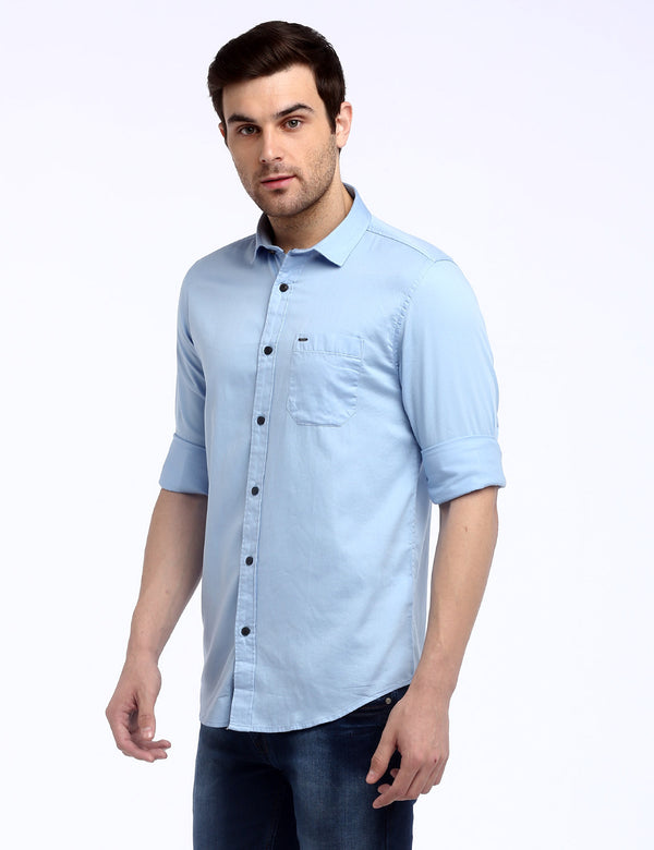 ADNOX Men's Solid Dobby Cotton Full Sleeve Slim Casual Plain Shirt (Sky Blue)
