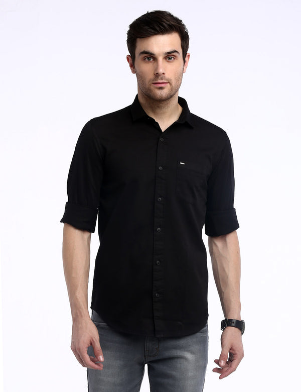 ADNOX Men's Solid Dobby Cotton Full Sleeve Slim Casual Plain Shirt (Black)