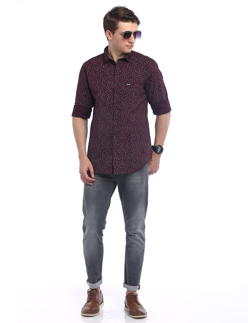 ADNOX Men's Printed Oxford Cotton Full Sleeve Casual Shirt (Maroon)
