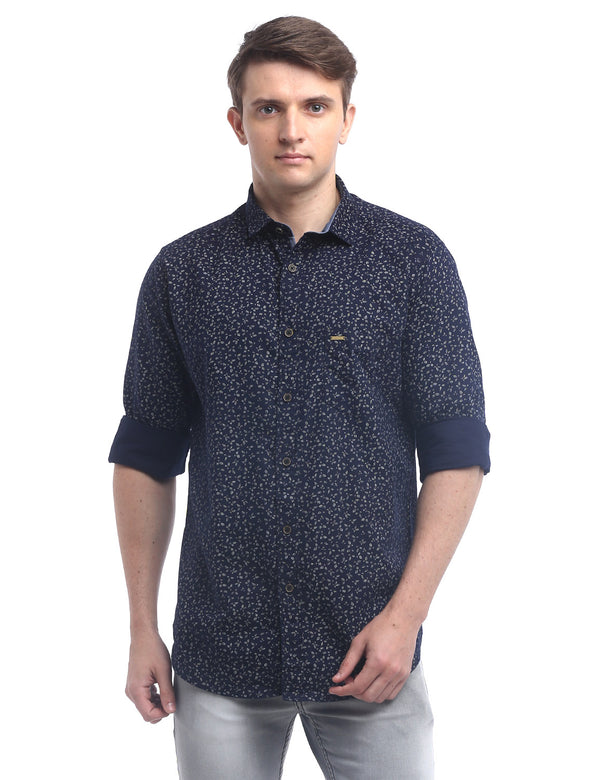 ADNOX Men's Printed Oxford Cotton Full Sleeve Casual Shirt (Navy Blue)