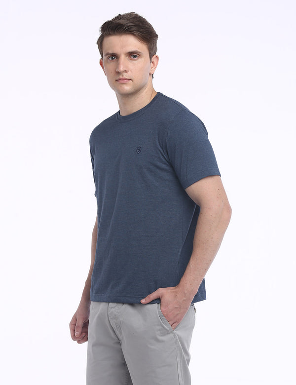 ADNOX Round Neck Plain Cotton Solid T-Shirt for Men (Dark Grey)