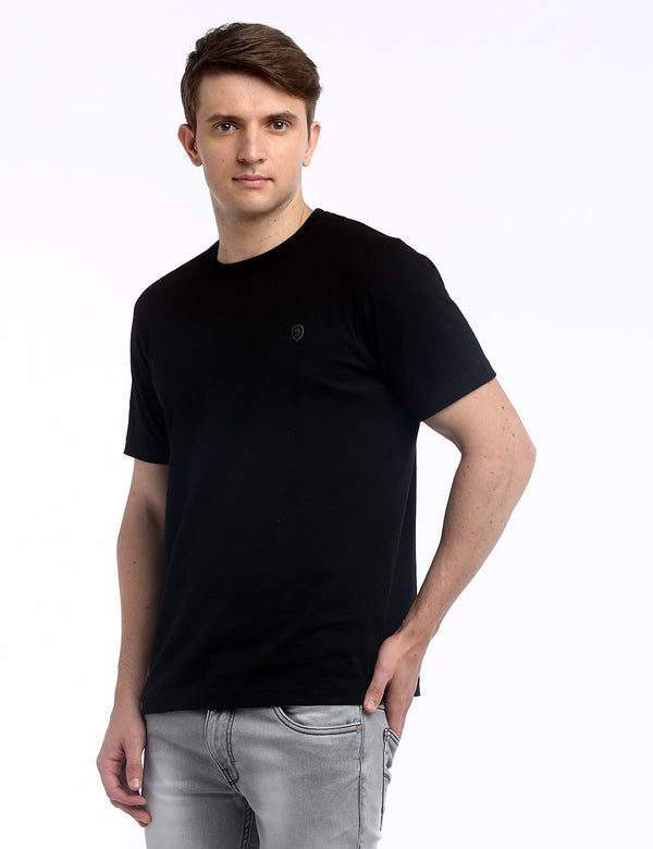ADNOX Round Neck Plain Cotton Solid T-Shirt for Men (Black)