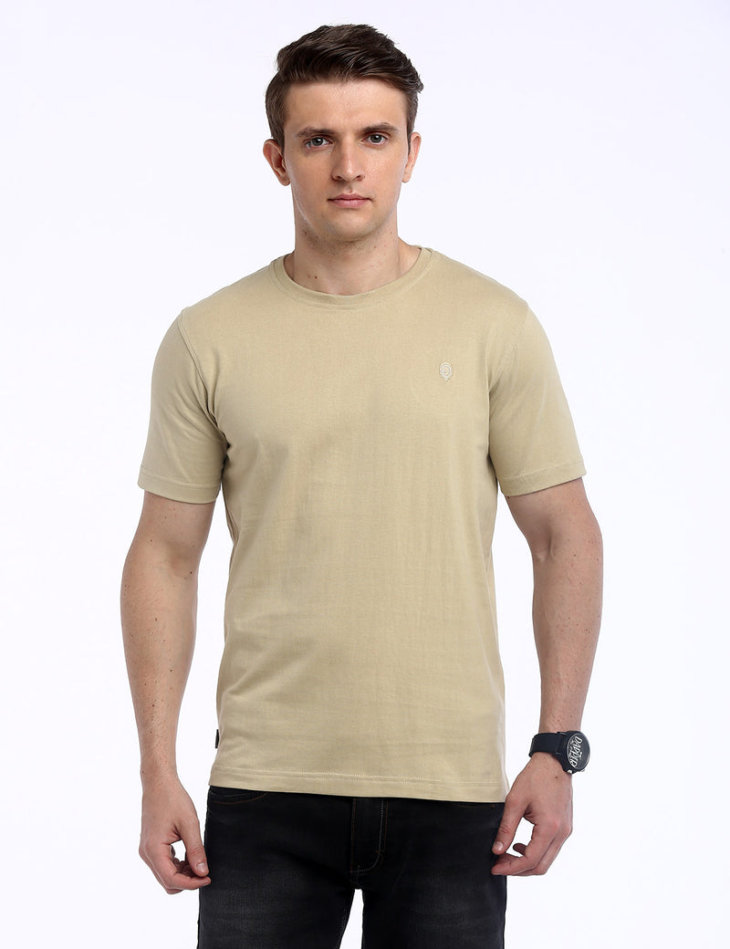 ADNOX Round Neck Plain Cotton Solid T-Shirt for Men (Beige)