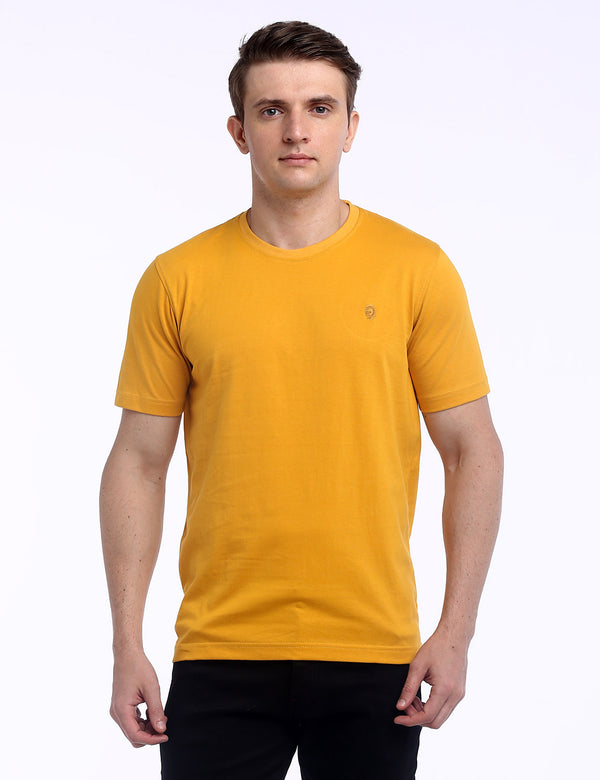 ADNOX Round Neck Plain Cotton Solid T-Shirt for Men (Yellow)