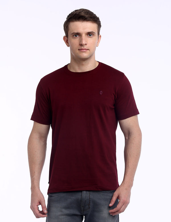 ADNOX Round Neck Plain Cotton Solid T-Shirt for Men (Maroon)
