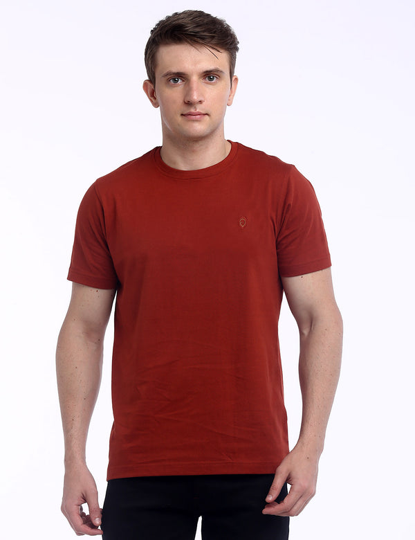 ADNOX Round Neck Plain Cotton Solid T-Shirt for Men (Crimson Red)
