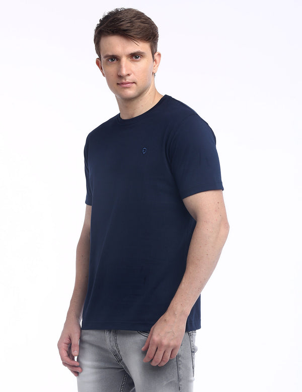 ADNOX Round Neck Plain Cotton Solid T-Shirt for Men (Navy Blue)