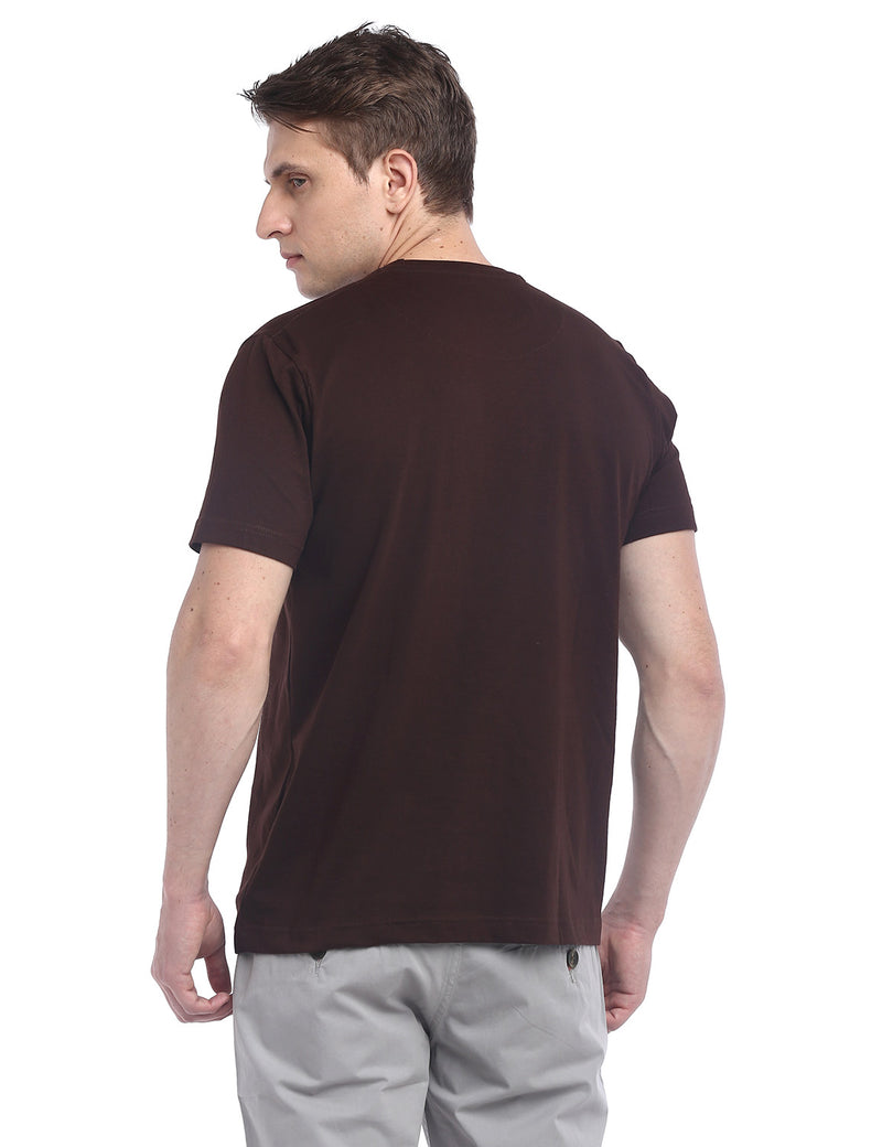 ADNOX Designer Round Neck Cotton Solid T-Shirt for Men (Coffee Brown)